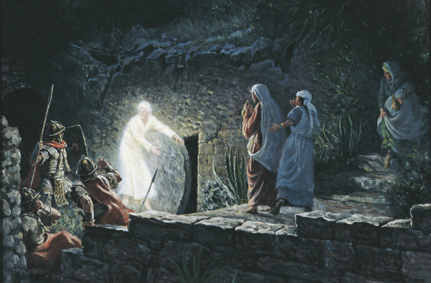 Three women watch an angel in white clothing rolling the stone away from the tomb while Roman soldiers look on in fear.