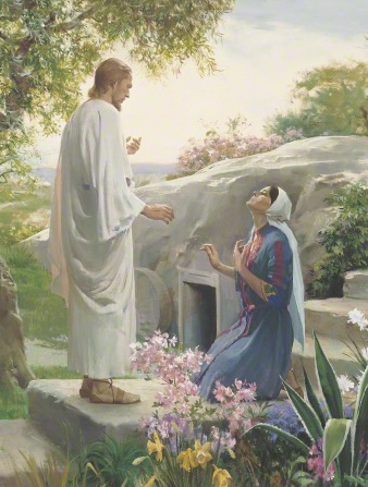 The resurrected Christ stands before Mary, who is kneeling and looking toward Him outside of the Garden Tomb.