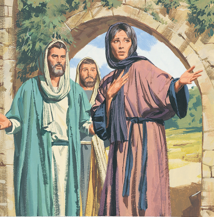 An illustration by Paul Mann showing Mary Magdalene in a purple robe, standing in an archway, telling Peter and John that the Savior's body is gone.