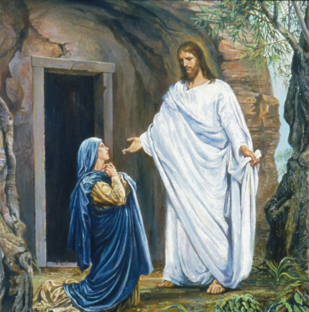Mary Magdalene in a blue robe, kneeling on the ground outside of the empty tomb, looking up at the resurrected Christ.