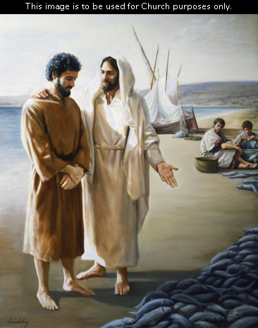 Christ stands in white robes with a white head covering, with His arm around Peter, indicating a large line of blue fish on the beach.