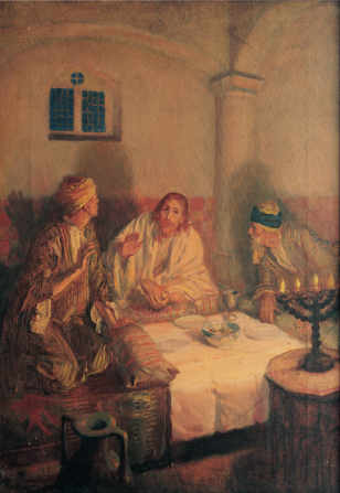 A painting of the resurrected Jesus Christ in white robes, sitting down with two disciples to eat at a table in Emmaus.