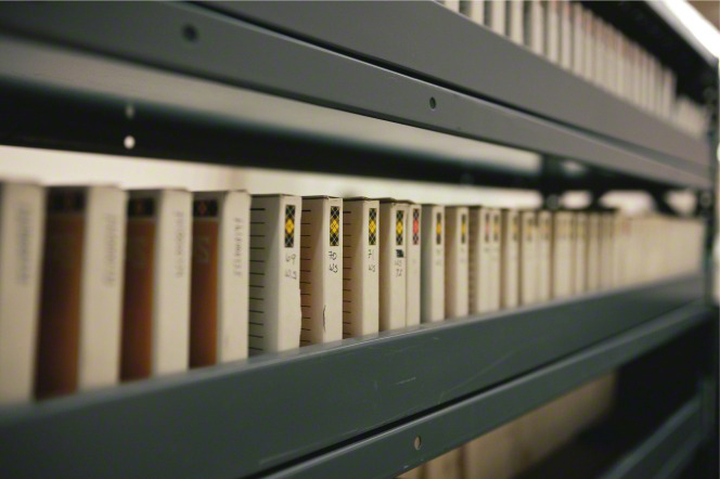 Microfilm on shelves in the Granite Mountain Records Vault.