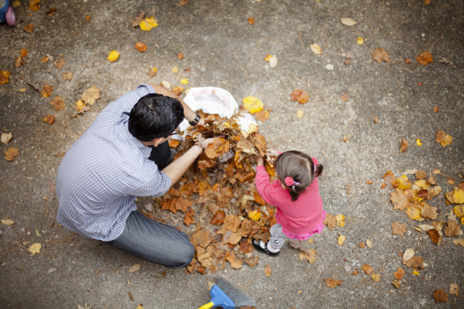 A young girl is standing and helping her father gather leaves off of the cement into a bag with her bare hands.