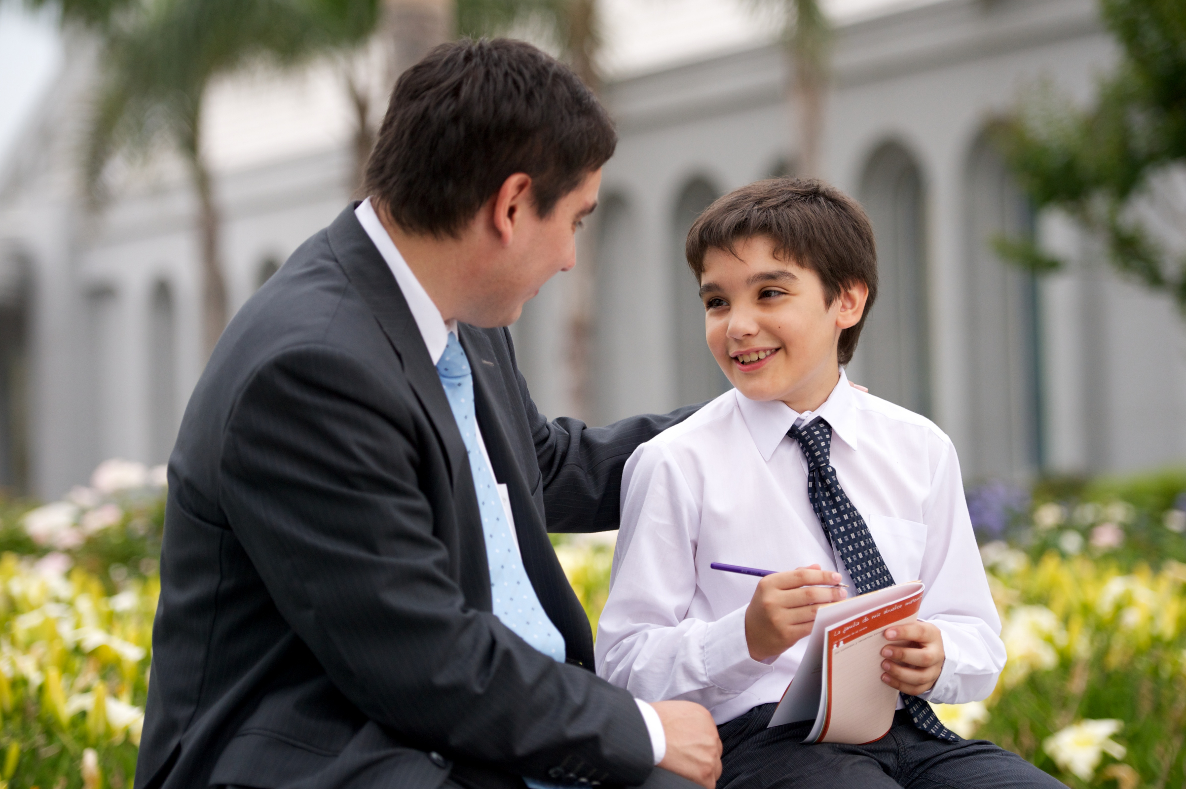 Father And Son At The Temple