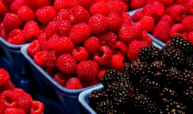 Fresh raspberries and blackberries piled in little blue baskets.