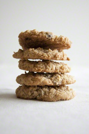 A stack of five oatmeal cookies.