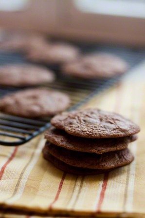 A stack of chocolate cookies next to a cooling rack with more chocolate cookies.