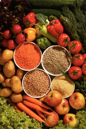 An image of different grains in bowls with peppers, tomatoes, carrots, potatoes, apples, lettuce, and cucumbers around them.