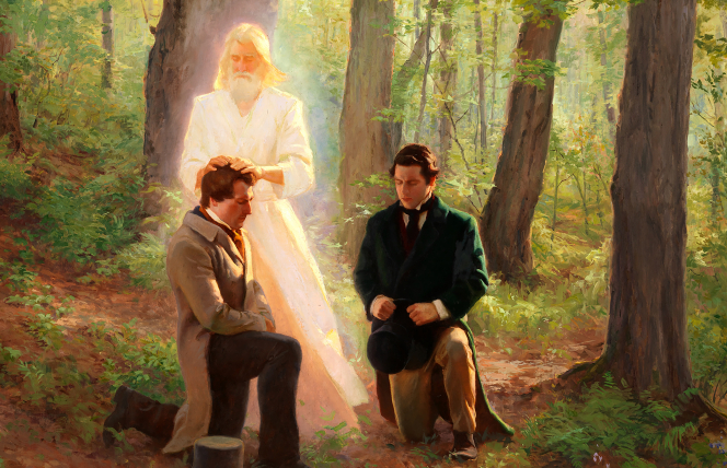 A painting showing the restoration of the Aaronic Priesthood to Joseph Smith and Oliver Cowdery.