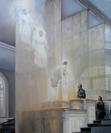A painting showing Moses, Elias, and Elijah descending inside the Kirtland Temple.