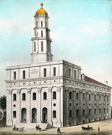 A colored sketch of the original Nauvoo Temple with a cloudy sky overhead and horse-drawn carriages outside.