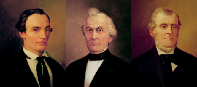 Three portraits together in a row: Oliver Cowdery, David Whitmer, and Martin Harris.