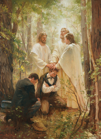 A painting depicting the restoration of the Melchizedek Priesthood by Peter, James, and John.