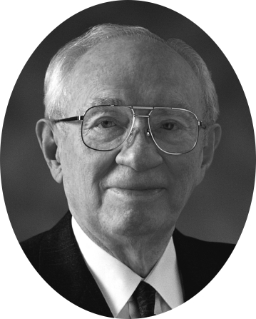 A black-and-white headshot image of President Gordon B. Hinckley used as the official Church portrait.