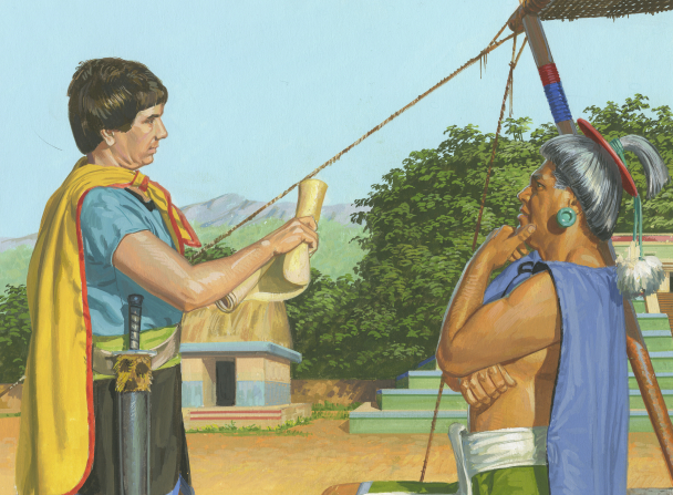 A painting by Jerry Thompson depicting Aaron standing and reading from a parchment roll to Lamoni's father, who is standing and resting his chin in his hand.