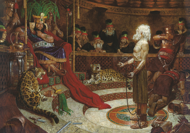 A painting by Arnold Friberg depicting Abinadi's wrists bound in chains while he is standing and preaching to King Noah and his wicked priests.