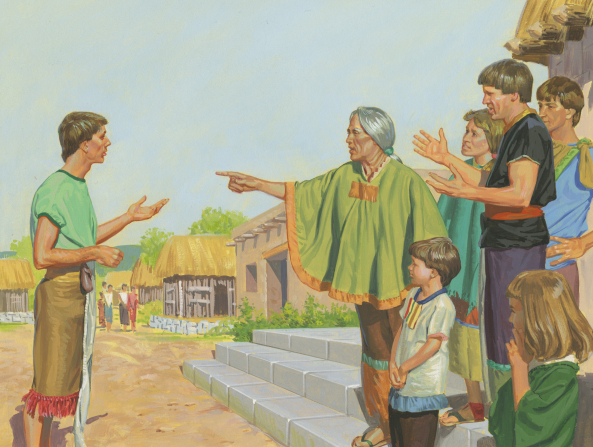 A painting by Jerry Thompson illustrating a group of the people of Ammonihah talking and standing on steps while pointing down at Alma, who is standing with arms outstretched.