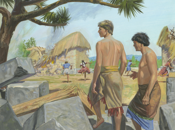 A painting by Jerry Thompson depicting Alma and Amulek stepping over stones from the crumbled prison, with the people of Ammonihah running away.