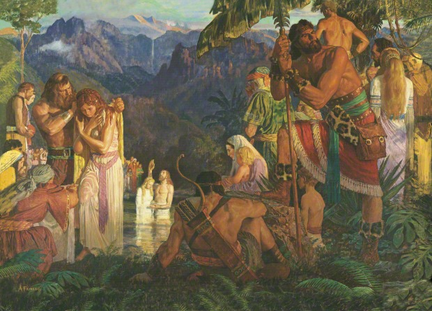 A painting by Arnold Friberg showing Alma baptizing a Nephite woman, with other men and women watching by the side of the water.