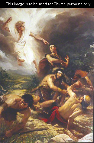 A painting by Water Rane of Alma and the sons of Mosiah fallen to the ground, while an angel descends pointing at Alma.
