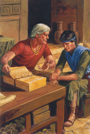A painting by Darrell Thomas illustrating Alma the Younger sitting with his son and looking at the gold plates lying open on the table.