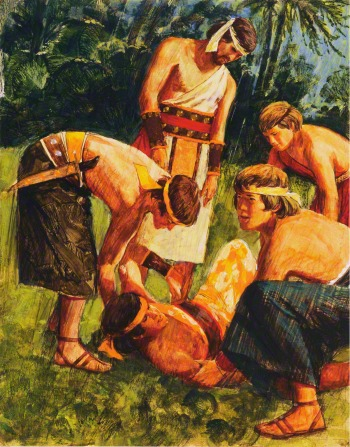 A painting by Jerry Harston depicting Alma the Younger lying on the ground after being stricken dumb by an angel, with the four sons of Mosiah assisting him.
