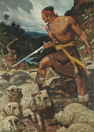 A painting by Arnold Friberg of Ammon standing and holding a sword to defend King Lamoni's sheep from the oncoming Lamanites.
