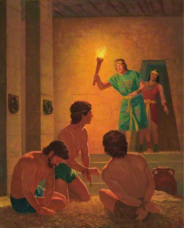A painting by Gary L. Kapp illustrating Ammon standing and carrying a torch while finding his brother Aaron and his companions on the prison ground.