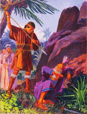 A painting by Jerry Harston depicting Ammon standing and holding a spear over a Lamanite king, who is shielding himself.