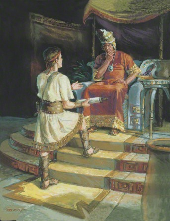 A painting by Scott M. Snow depicting Ammon standing on a yellow rug, holding a roll of parchment while talking to King Laban, who is sitting on his throne.