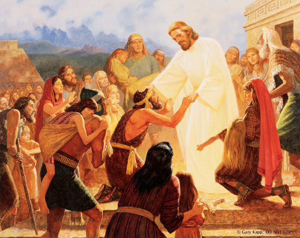 Jesus Christ in the Americas, placing His hands on the heads of the injured to heal them while the multitude gathers around.