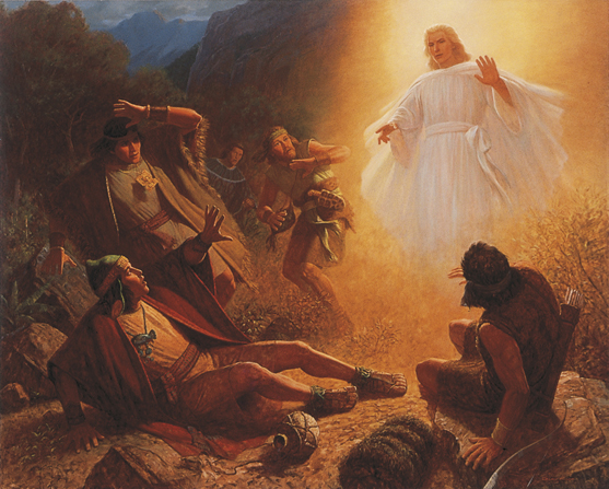 A painting by Gary L. Kapp illustrating an angel appearing in a white robe illuminated with bright light to Alma the Younger and the four sons of Mosiah.