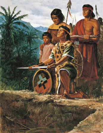 A painting by Del Parson depicting a group of Anti-Nephi-Lehies preparing to bury their swords in a pit, with one young man kneeling and holding a shield and sword.
