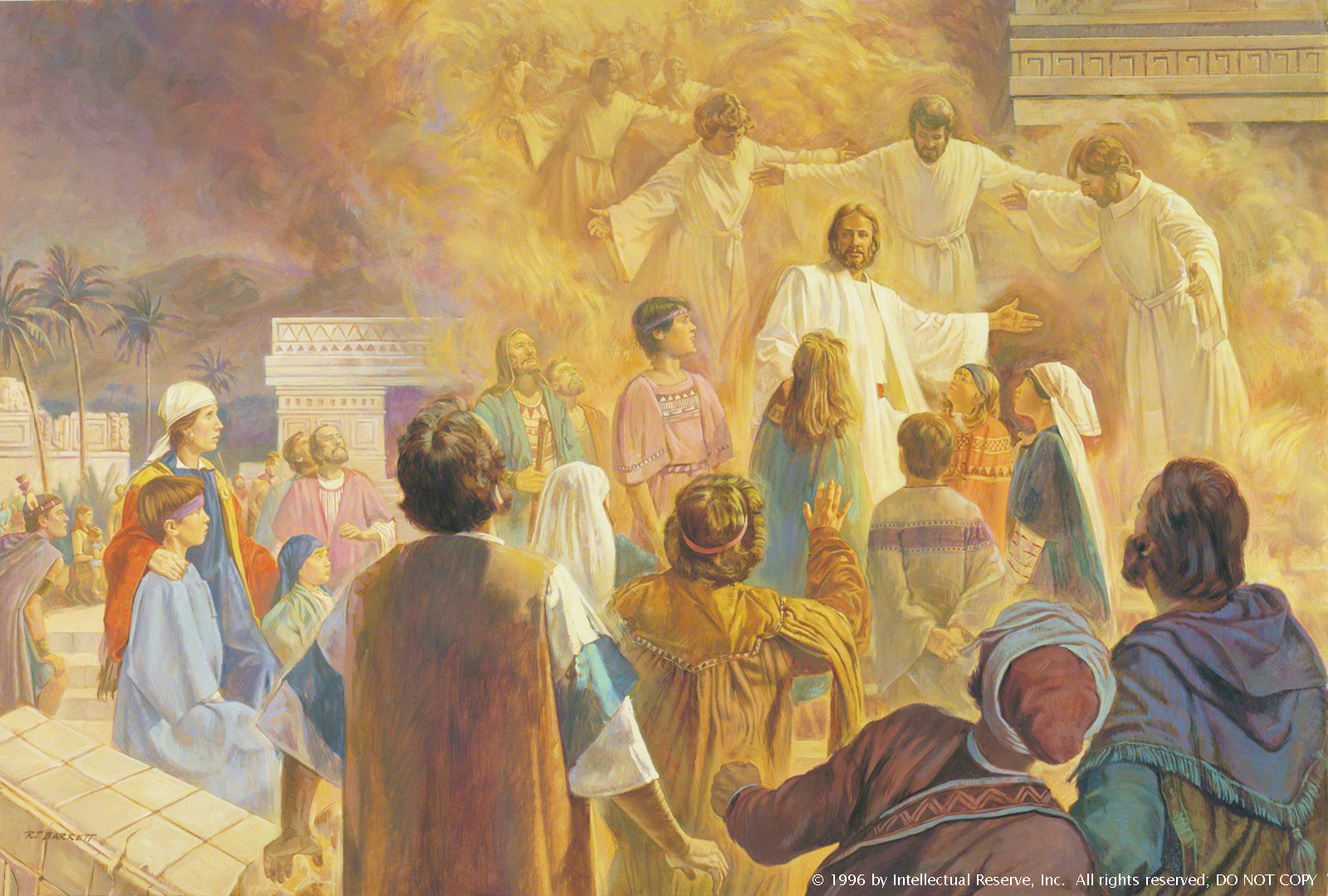 A row of angels in a cloud of warm light gather around Christ and a throng of children who are standing among rubble in the Americas.