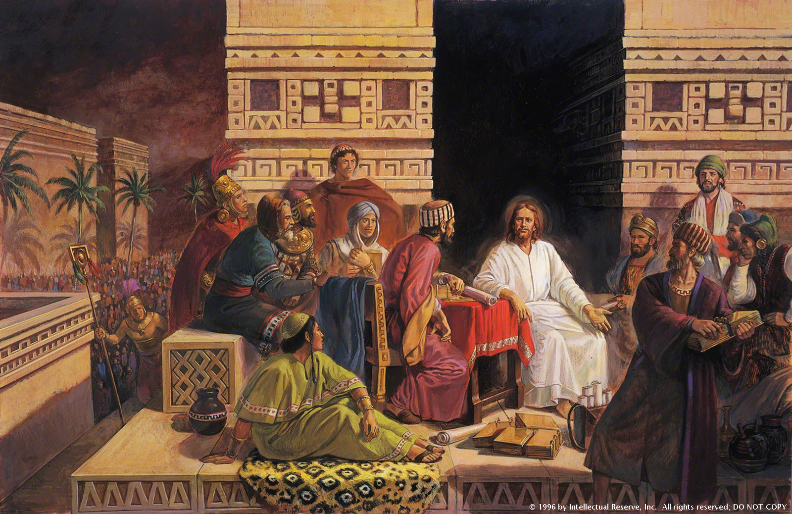 Christ wearing white robes, sitting among a group of people in the Americas while they bring Him plates of their records.