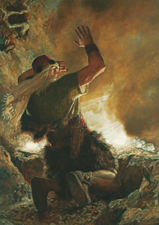 A painting by Arnold Friberg depicting the brother of Jared kneeling and shielding his eyes from the bright light emanating from the stones the Lord touched.
