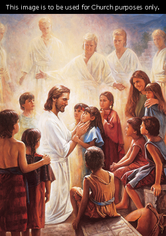 Christ kneeling to talk to a group of children in the Americas while a row of angels in white robes, surrounded in light, stand in the background.