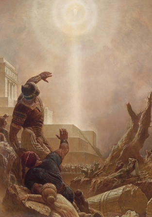 A painting by Arnold Friberg depicting a group of Nephites looking up towards the resurrected Jesus Christ descending from the sky.