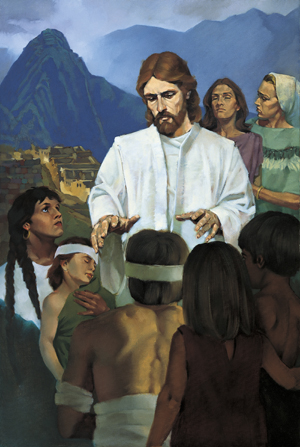 A painting by Ted Henninger illustrating Jesus Christ standing in a group of Nephites and reaching His hands toward a young boy in preparation to give him a blessing.