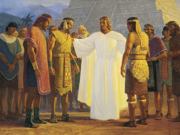 Christ in white robes, standing outside with His disciples in America, talking with three of them who stand near Him.