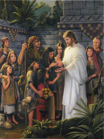 Jesus Christ standing outdoors in white robes in the Americas while the people gather round to look at the wounds in His hands.