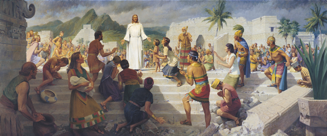 A panoramic view of Jesus Christ standing in white robes on a flight of steps while Book of Mormon–era people gather around to see.