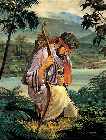 A painting by Robert T. Barrett of Enos kneeling in prayer by a river, with a bow in his hand and arrows on his back.
