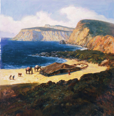 A painting by Gary L. Kapp illustrating the family of Lehi camping in the promised land under a large tent on an ocean shore.