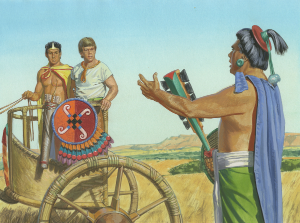 A painting by Jerry Thompson illustrating Ammon and Lamoni standing in a chariot and listening to Lamoni's father, King Lamoni, speak to them.