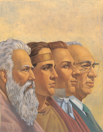 A painting by Robert T. Barrett portraying the portraits of four prophets: Moses, Mormon, Joseph Smith Jr., and Gordon B. Hinckley.