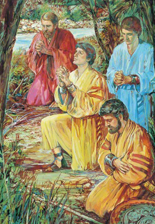 A painting by Harold T. (Dale) Kilbourn of the four sons of Mosiah kneeling in robes and praying by the river.