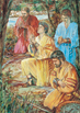 Four sons of Mosiah kneeling in prayer