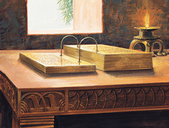 A painting by Jerry Thompson depicting the gold plates lying open on a table near a candle and sunlight streaming through the window.